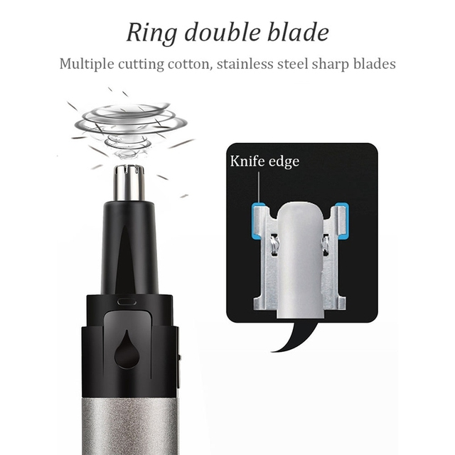 Electric Nose Hair Trimmer, Rechargeable Low Noise Ear Nose Neck Eyebrow Trimmer, Use for Man and Woman Home Travel Care 3