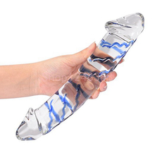 Epichao Blue Swirl Rock Hard Large Double-ended Glass Dildo Huge Double Head
