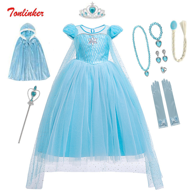 Girls Halloween Cartoon Movie Costume With Accessories Cloak Crown Princess Girls Christmas Costume Snow Queen Cosplay Dress