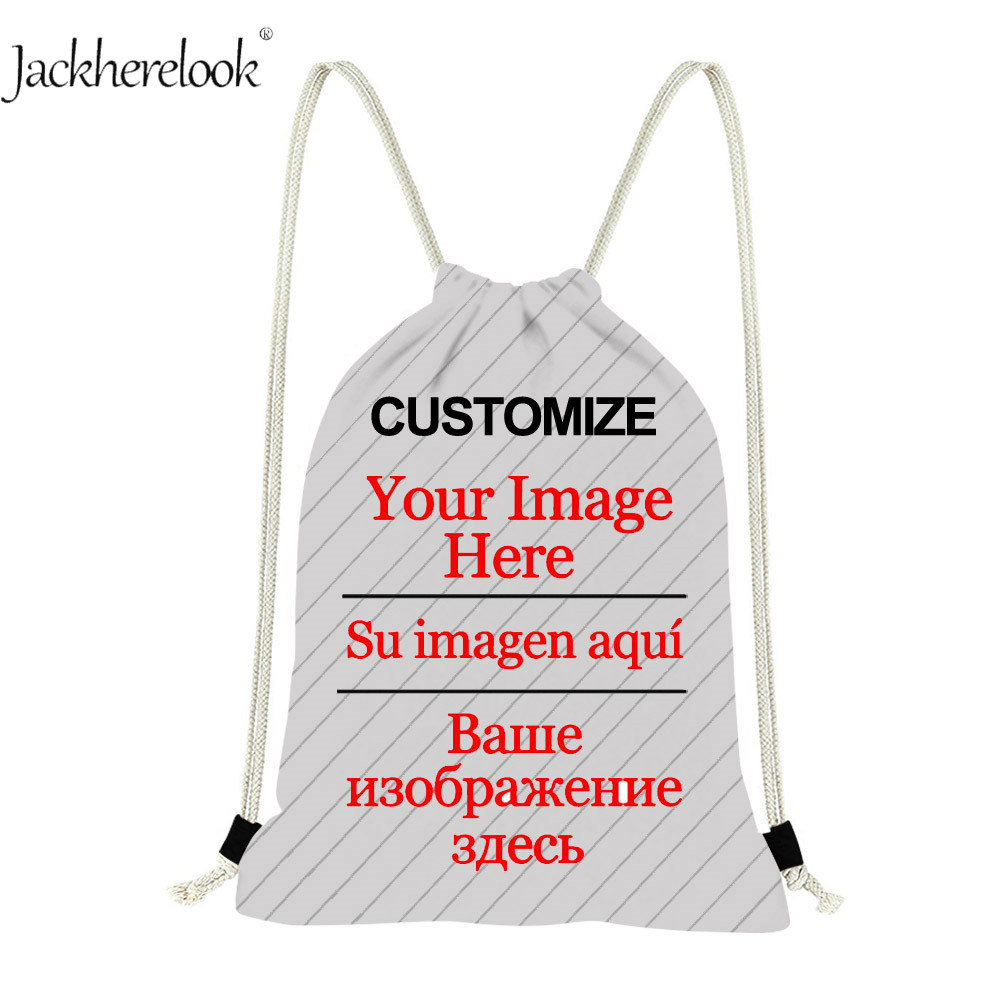 Jackherelook Customize Images/Logo/Name Drawstring Bags Women Men Casual Backpack Travel Bag Beach Shopping Softback Kid Gympack