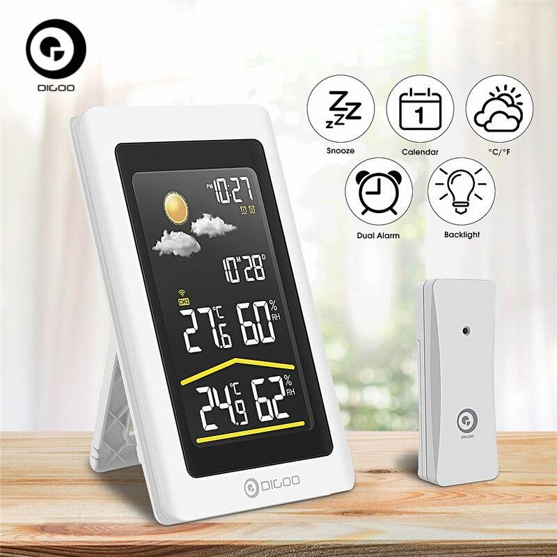 DIGOO DG-TH11300 Barometric Weather Station Indoor Outdoor Forecast Sensor 3CH Backlit Thermometer Hygrometer Calendar Clock