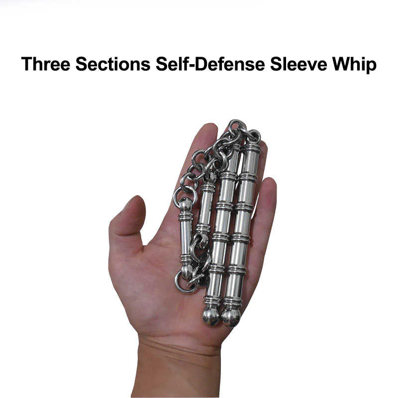 56cm Pocket Solid Stainless Steel Three  Sections Whip Cuff Combat Carry Broken Windows Personal Safety Protective