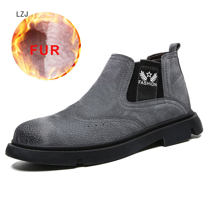 Hot Sale Male Snow Boots Footwear Warm Plush Winter Shoes Men Waterproof Breathable Shoes Casual Slip On Working Fashion 2019 image