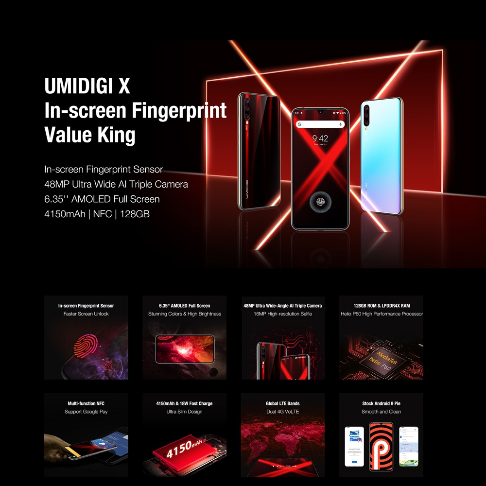 """Image 2 - UMIDIGI X Smartphone Android 9.0 4GB RAM 128GB ROM 6.35"""" AMOLED Helio P60 Global Version Dual 4G 48MP Triple Back Cams 4150mAh-in Cellphones from Cellphones & Telecommunications"""