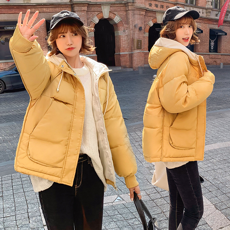Winter Women   Parkas   Short Hooded Cotton Suit Warm Padded Jacket Female Coats Solid Patchwook Loose Thick   Parkas   Ladies Outwear