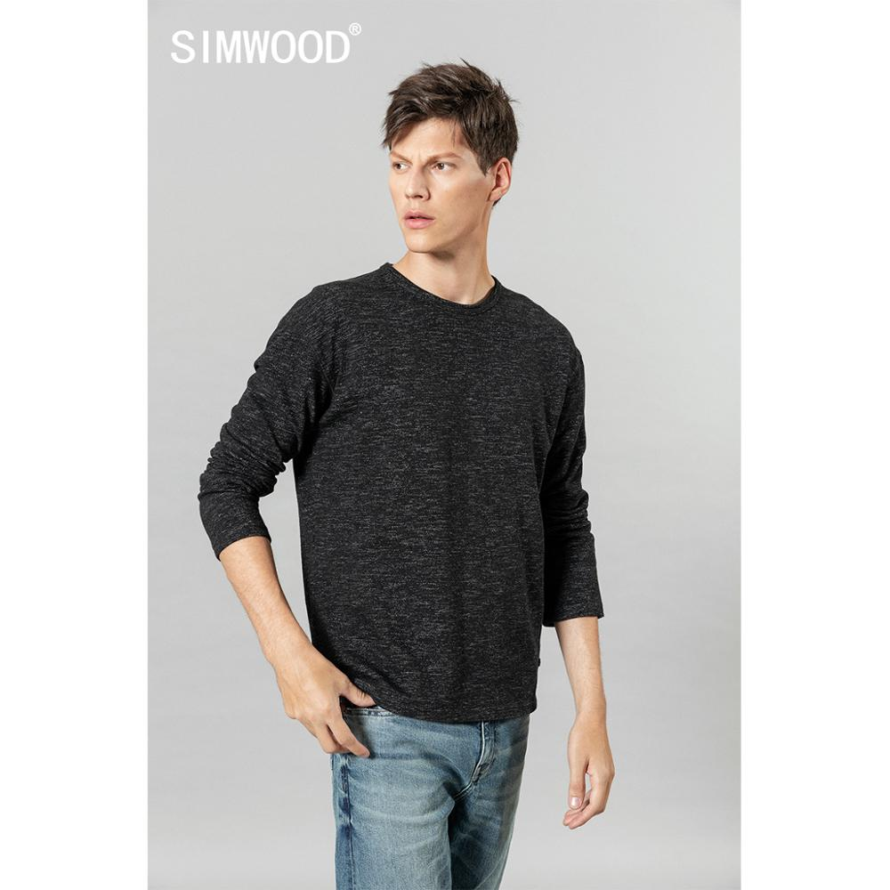 SIMWOOD 2020 Spring Winter New Long Sleeve  T-shirt Men Melange Tops High Quality Plus Size Clothes T Shirt SI980560
