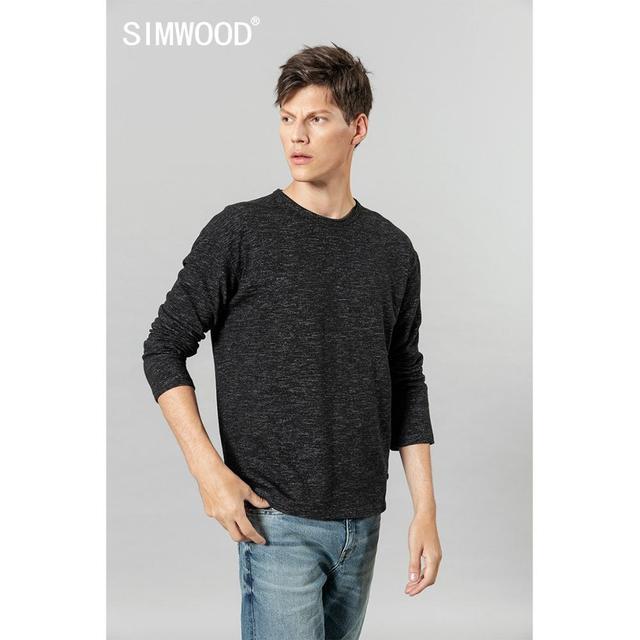 Simwood 2020 Herfst Winter Nieuwe Lange Mouw T shirt Mannen Melange Tops Hoge Kwaliteit Plus Size Kleding T shirt SI980560