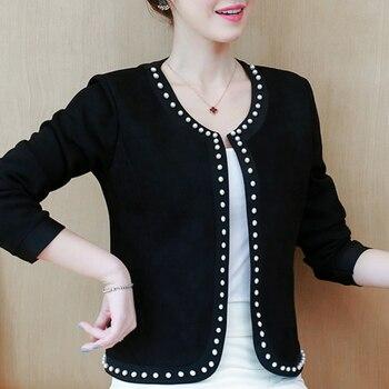 Coats And Jackets Women Long Sleeve Jacket Women Fashion Women's Jackets 2021 Beading Coat Women 3XL 4XL  Jacket B886 1