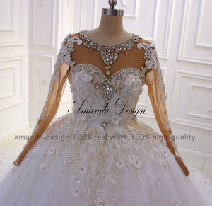 Image 2 - アマンダデザイン新デザイン長袖ラインストーンクリスタルフルスリーブ 3 D の花のウェディングドレス