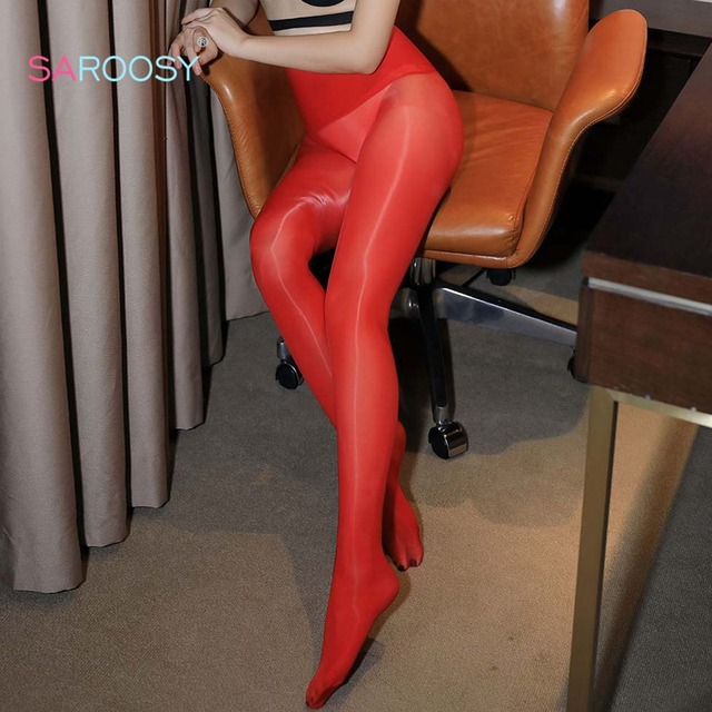 SAROOSY Sexy Oil Shiny Pantyhose Women High Waist Elastic Smooth Stockings See Through Clubwear Sex Tights 2019 New Arrival 1