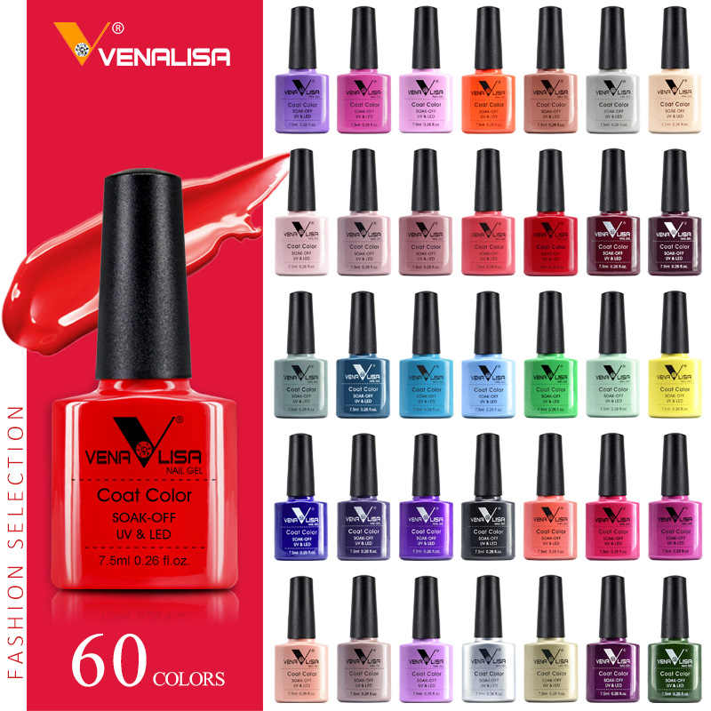 VENALISA Kuku Gel Polandia Kualitas Tinggi Paku Seni Salon 60 Hot Sale Color 7.5Ml VENALISA Rendam Off Organik UV LED Nail Gel Varnish