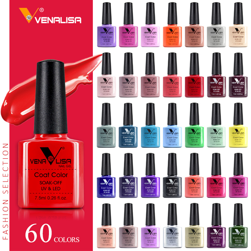 VENALISA Nail Gel Polish High Quality Nail Art Salon 60 Hot Sale Color 7.5ml VENALISA Soak off Organic UV LED Nail Gel Varnish(China)