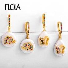 FLOLA-pendientes de perlas de agua dulce, joyería de oro de 24 quilates, elefante, mariposa, arcoíris, mano de Fátima ersr50