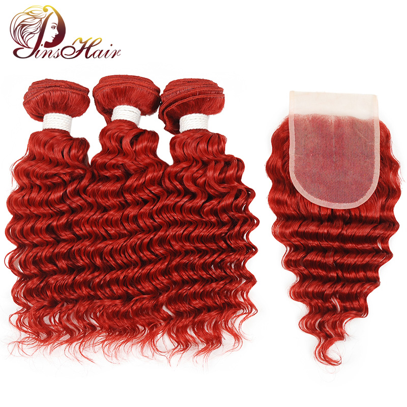 Pinshair Burgundy Red Bundles With Closure Deep Wave Human Hair Brazillian Hair Bundles With Closure 99J Colored Non Remy Hair