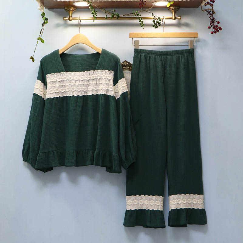 Новая Осенняя пижама из хлопка для женщин с длинным рукавом Брюки комплекты из 2 предметов пижамы теплая домашняя одежда для сна Домашняя одежда для сна домашняя одежда