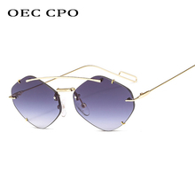 OEC CPO Ladies Rimless Polygon Sunglasses Women Brand Designer Trendy Gradient Female Candy Glasses UV400 O225