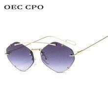 OEC CPO damas sin montura polígono gafas de sol mujer marca diseñador de moda de gafas de sol mujer dulces gafas UV400 O225