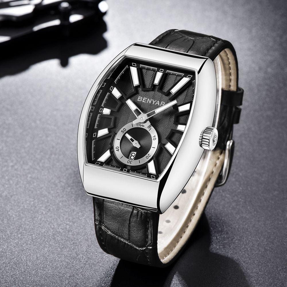 Benyar Square Men Watch Business Waterproof Quartz Leather Wrist Watch Men Clock Male Relogio Masculino hodinky erkek kol saati