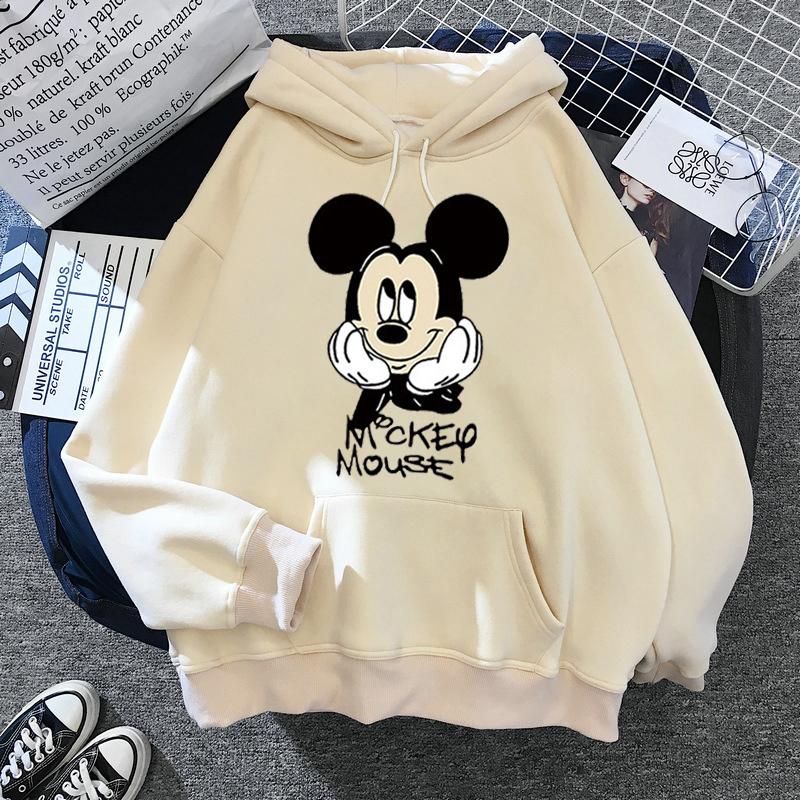 Disney Women Hoodies Mickey Mouse Hoodies Cartoon Tops Long Sleeve Pockets Sweatshirts Fashion Hooded Women