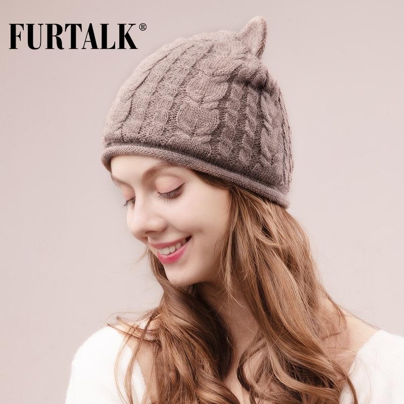 FURTALK Winter Beanie Hat for Women Rabbit Fur Wool Knitted Velvet Lining Cat Ear Hats Female Cute Korean Cap