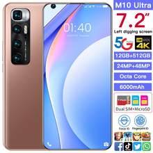 Versão global m10 ultra 7.2 Polegada 12/512gb android10 tela cheia 4g 5g telefone celular duplo sim telefone celular octa núcleo inteligente