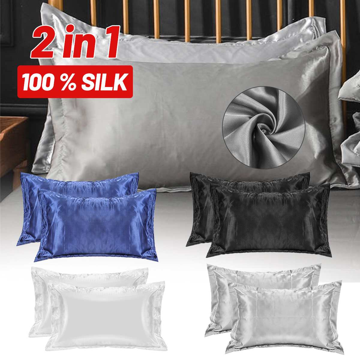 2pcs Stain Silk Pillowcase 48X74cm Bedding Comfortable Smooth Solid Color Decorative Pillow Case Cover Home Textile