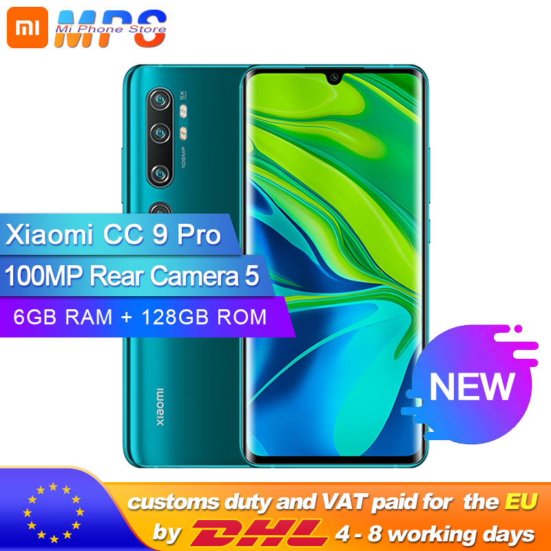 Xiaomi Mi CC9 Pro 6GB 128GB 100MP Penta Camera Smarphone 5260mAh Battery 10x Optical Zoom Double Curved Screen Mobile Phone