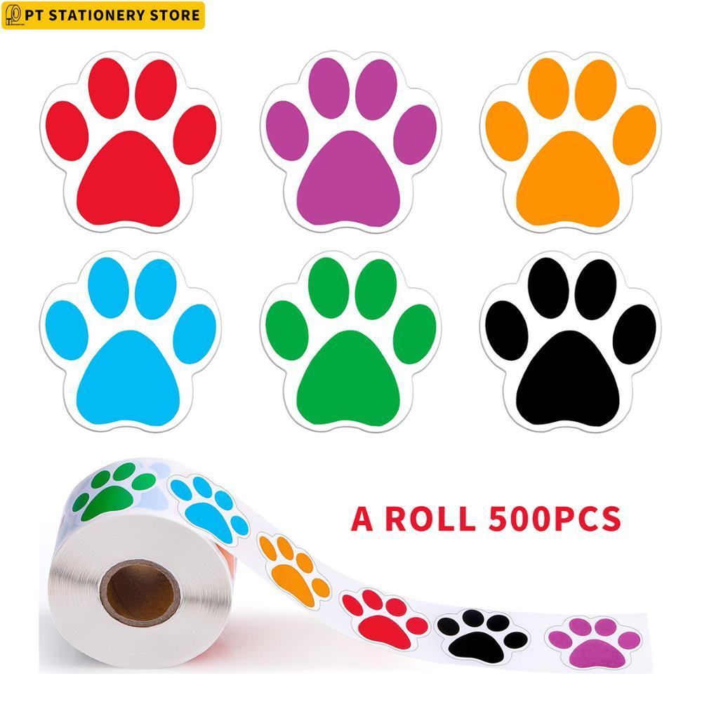 Красочные наклейки с отпечатками лап, 500 шт., 6 цветов, наклейки с собаками, кошками, мишками, лапами, канцелярские товары, наклейки для учител...