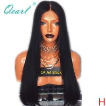 제트 블랙 1 # 컬러 인간의 머리카락 전체 레이스 가발 베이비 헤어 130% 150% 스트레이트 가발 레미 헤어 사전 뽑아 자연 헤어 라인 qearl