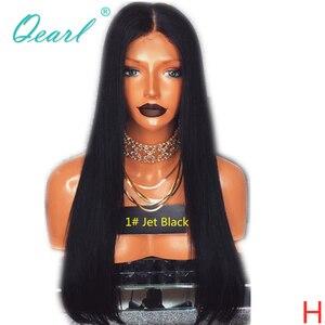 Image 1 - 제트 블랙 1 # 컬러 인간의 머리카락 전체 레이스 가발 베이비 헤어 130% 150% 스트레이트 가발 레미 헤어 사전 뽑아 자연 헤어 라인 qearl