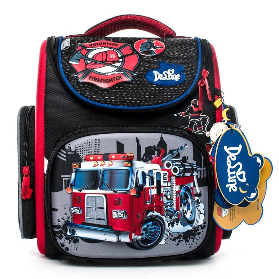delune Brand 1 3 grade orthopedic school bags satchel for boys cars EVA Folded Children Primary