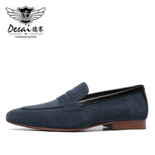 DESAI Mens Casual Natura Genuine Leather Business Handmade Dress Loafers Men Shoes for Mens Loafer Breathable High Quality 2020