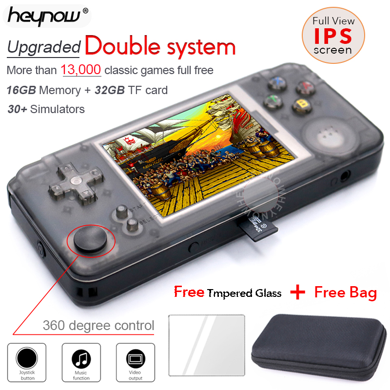 HEYNOW rs97 Plus Double system Retro Game Console 30+ Emulators IPS Screen Portable Handheld Game Player 360 Degree controller(China)