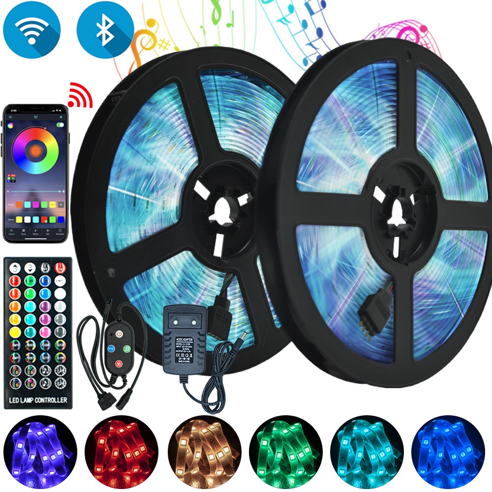LED Strip Light Bluetooth Control RGB 5050 SMD 2835 Waterproof Flexible Ribbon DC12V 5M 10M 15M 20M Holiday Decor WiFi luces LED
