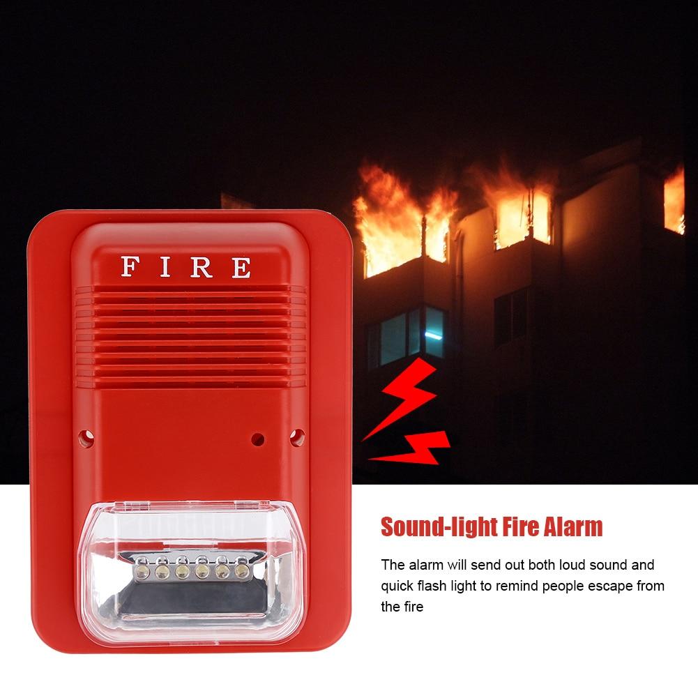 LED Sound & Light Fire Alarm Warning Strobe Horn Alert Safety System Sensor For Home Office Hotel School