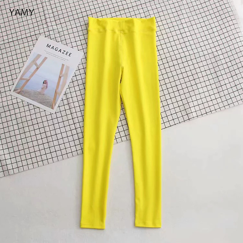 High Waist Womens Yellow Leggings Yoga Fitness Running Pant Skinny Trousers Fashion Chic Solid Leggins Streetwear Fancy Pants