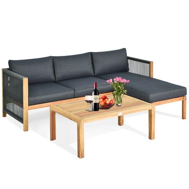 3 Piece Patio Sofa Set with Armrest  1