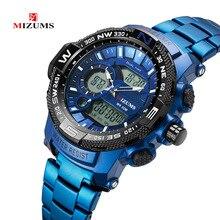 MIZUMS Luxury Brand Waterproof Military Sport Watches Men Blue Steel Digital Qua