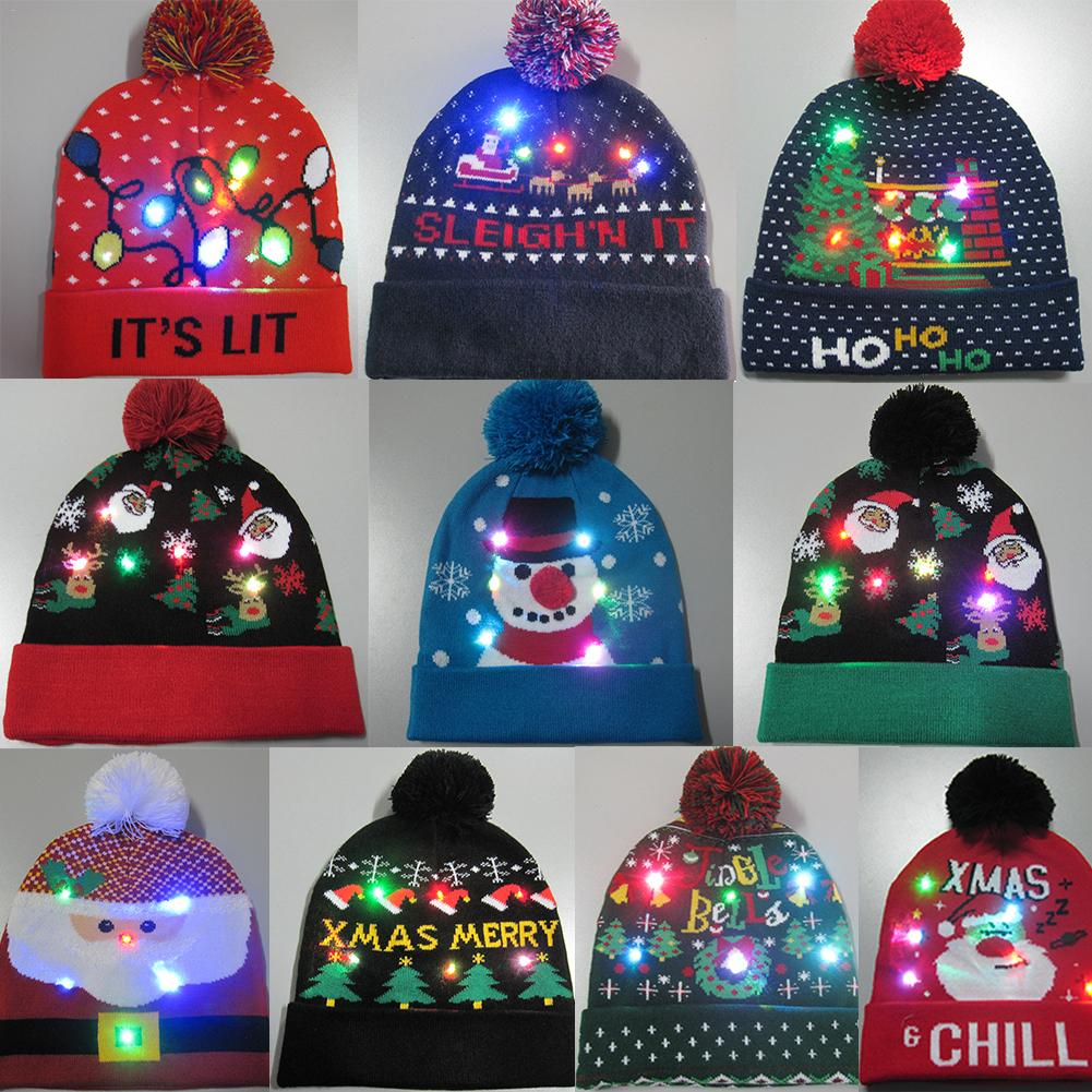2020 Hot 11 Designs LED Christmas Hats Beanie Sweater Christmas Santa Hat Light Up Knitted Hat For Kid Adult For Christmas Party