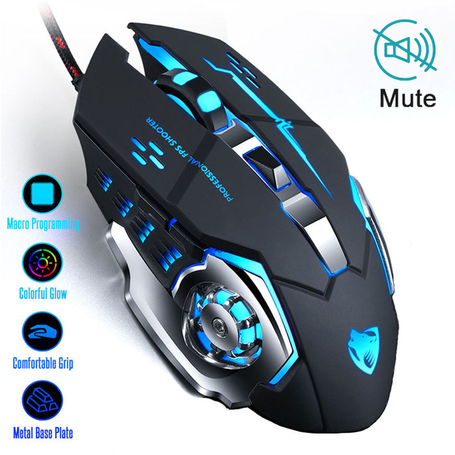 Ratón profesional para videojuegos, 3200DPI, ratón óptico USB con LED, con Cable, ergonómico, para ordenador portátil y PC