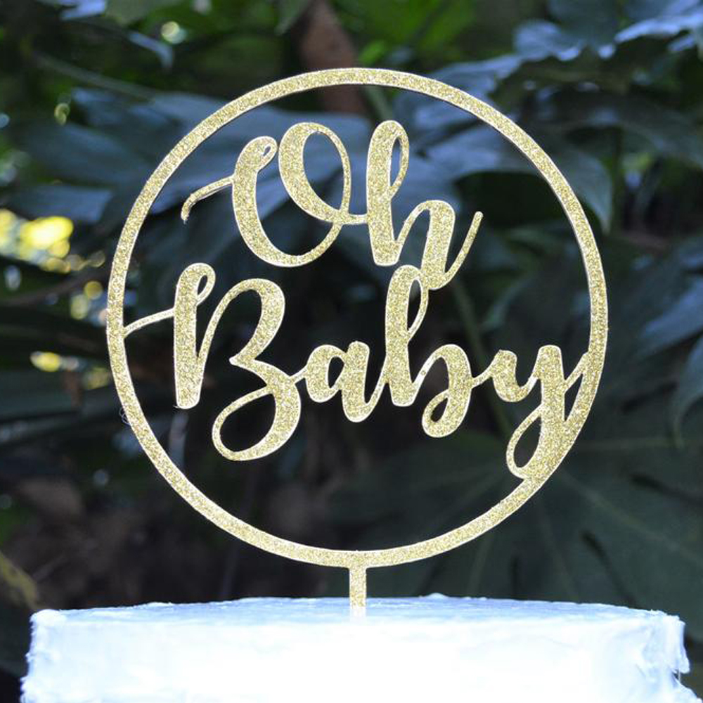 Custom Baby Shower Cake Topper Personalized Baby Shower Cake Topper Baby Shower Cake Topper Oh Baby Cake Topper Baby Name Cake Topper