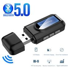 블루투스 5.0 수신기 송신기 LCD 디스플레이 3.5mm AUX 잭 USB 무선 오디오 어댑터 자동차 PC TV 스피커 헤드폰 음악