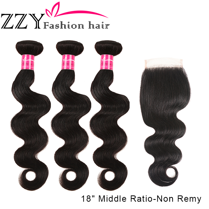 ZZY Fashion Hair Peruvian Body Wave Human Hair Bundles With Closure 4 Pcs/Lot  Middle Ratio Non Remy Hair 3 Bundles With Closure
