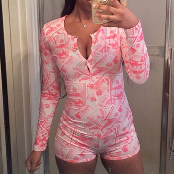 Money Print Sexy Onesie for Adults Pajama Long Sleeve Sleepwear Women Nightwear Short Jumpsuit Rompe