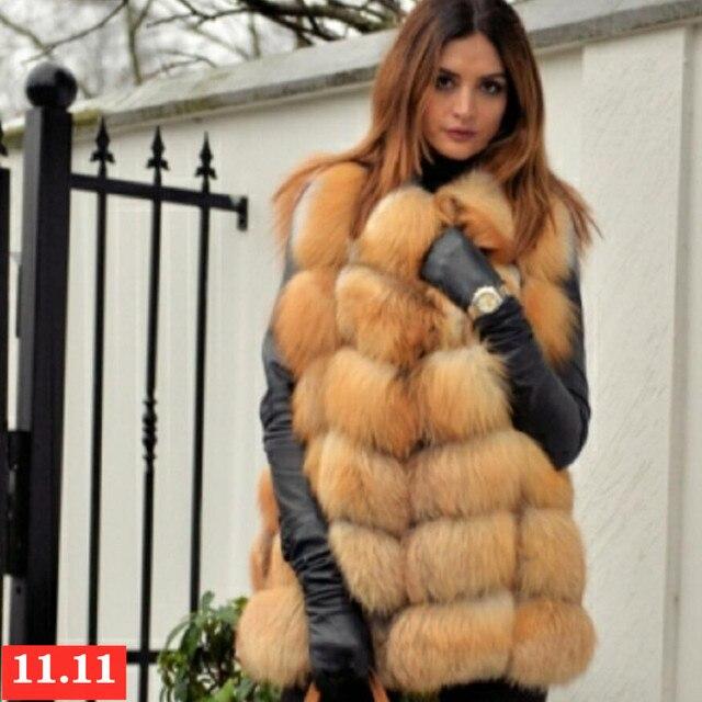 Delle donne di nuovo red fox gilet di pelliccia naturale pelliccia di volpe reale pelliccia di volpe giubbotto corto di moda casual caldo autunno e inverno stile Europeo strada