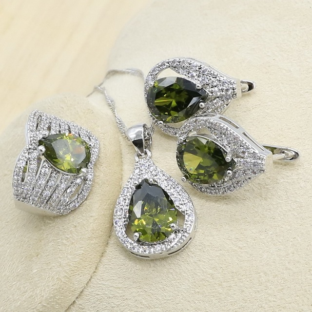 New Olive Green Zircon  Silver Color Jewelry Set for Women with Bracelet Earrings Necklace Pendant Ring Birthday Gift 2