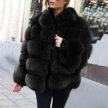 Женское роскошное пальто из искусственного лисьего меха черное