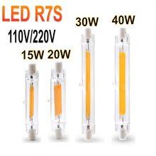 Diodo emissor de luz r7s alto poderoso 78mm 15w 20 r7s spotlight 118mm 30w 40 220v cob lâmpada luz tubo de vidro substituir lâmpada de halogênio luz