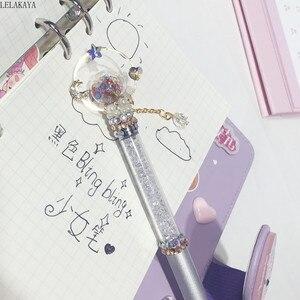 Image 3 - 1pcs יפני אנימה סיילור מון פעולה איור מודפס שחור קסם שרביט מתכת חתימת ג ל עט סטודנטים יפה מכתבים מתנה