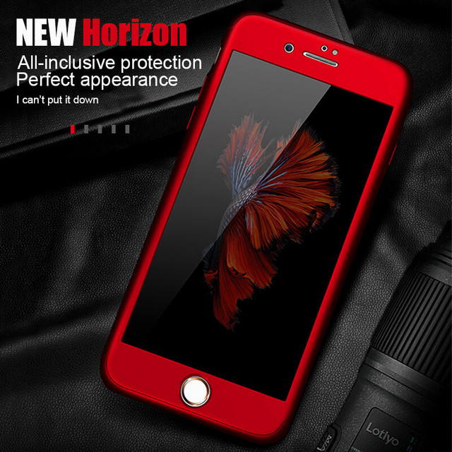 360 Full Cover Phone Case For iPhone X 8 6 6s 7 Plus 11 Pro Max PC Protective Cover For iPhone 7 5 5s XS MAX XR Case With Glass 2
